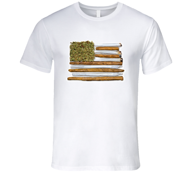 American Flag With Joint T Shirt