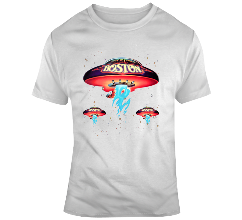 Boston Rock Band Classic Spaceship Distressed Band T Shirt