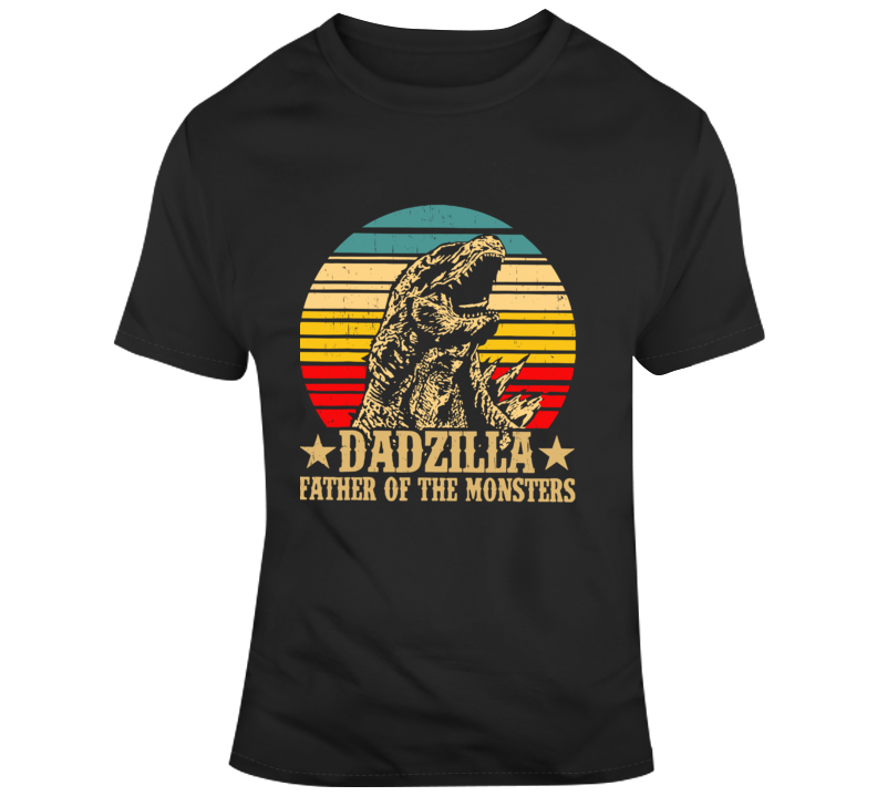 Dadzilla Father Of The Monsters Retro Vintage Sunset T Shirt