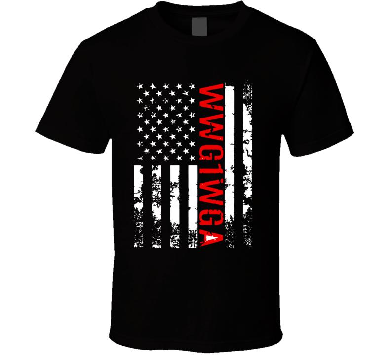 Q Anon Wwg1wga Where We Go One We Go All Qanon Us Flag T Shirt