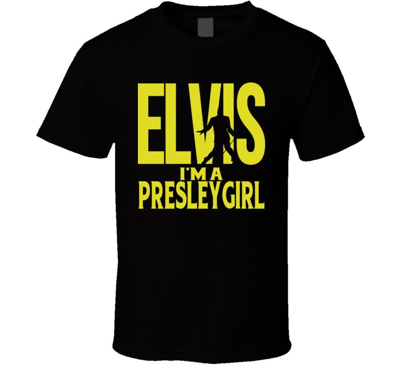 Elvis I'm A Presley Girl Black T Shirt
