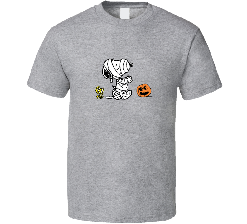 Halloween Mummy Snoopy Graphic Sport Grey T Shirt