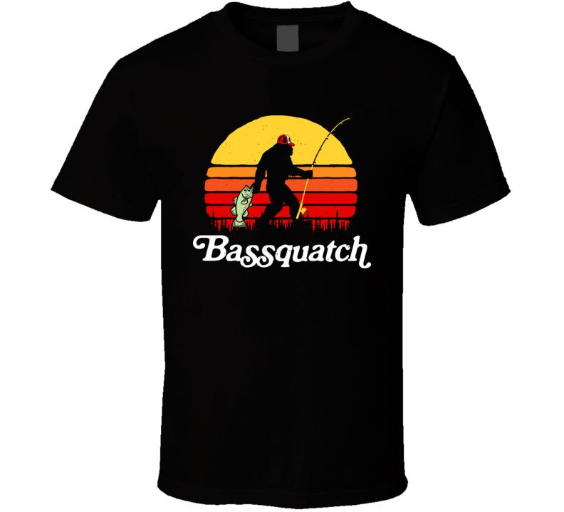 Bassquatch Funny Bigfoot Fishing T Shirt