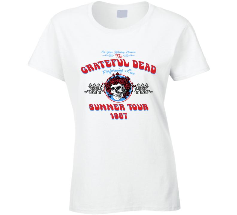 Grateful Dead Summer Band Summer Tour 1987 Ladies T Shirt