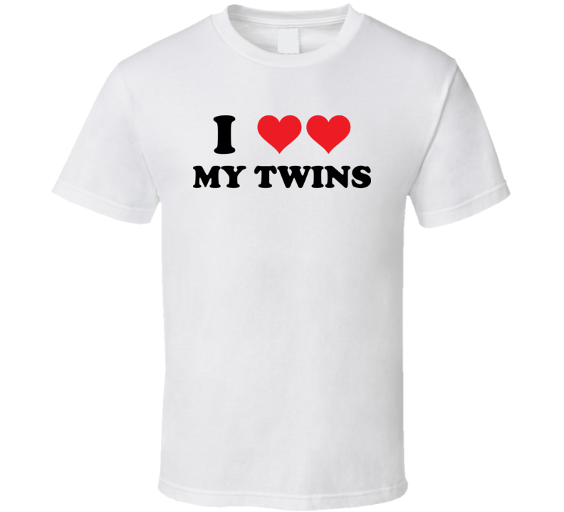 I Heart Love My Twins T Shirt