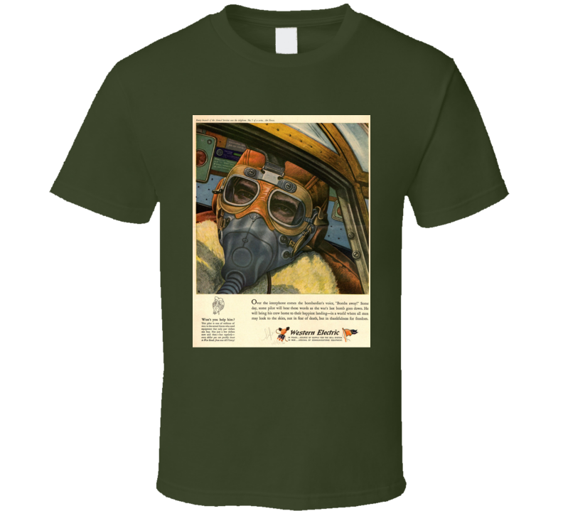 WWII Pilot T Shirt Retro Ad Advertising Advertisement Gift Military Father's Day