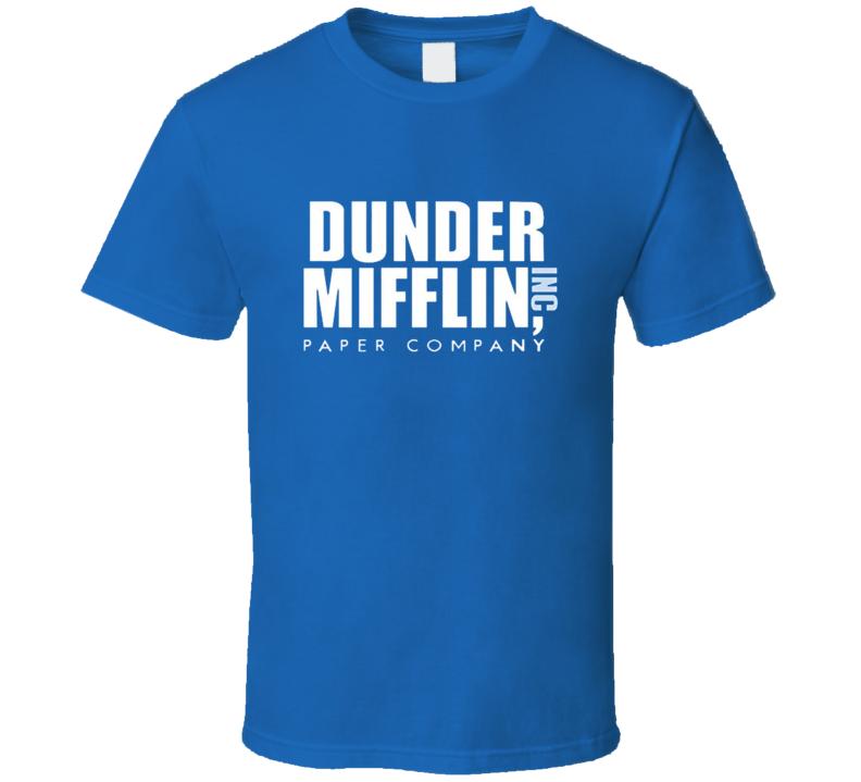 Dunder Mifflin Paper Company  Inc Blue T Shirt The Office Michael Scott Funny Gift