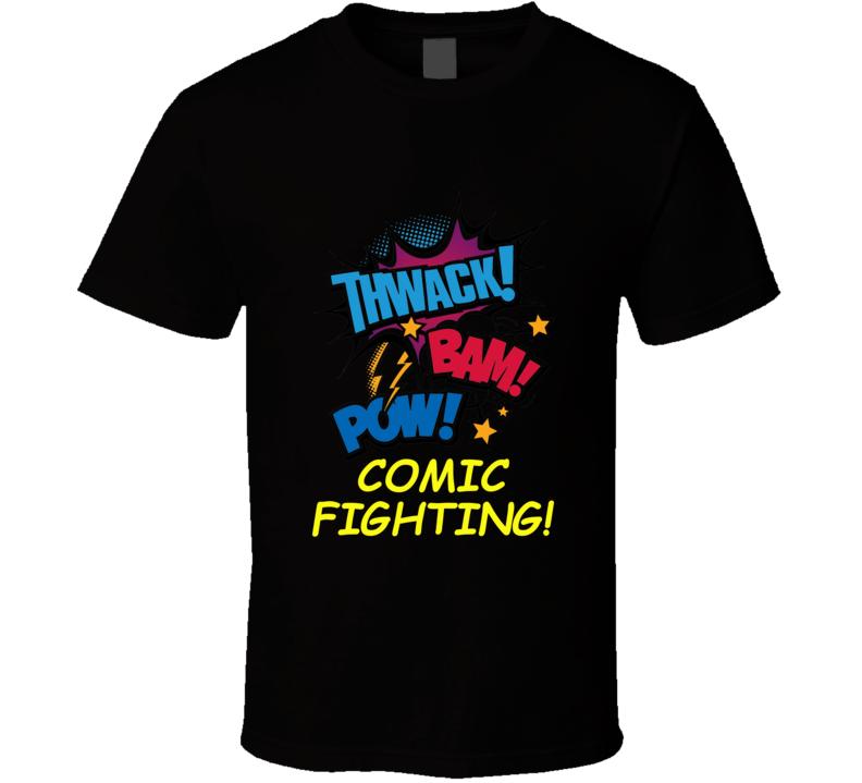 Thwack Bam Pow Comic Fighting Black T Shirt Geek Nerd Funny Gift