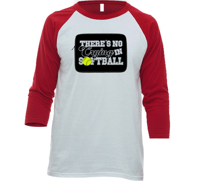 There's No Crying In Softball Funny T Shirt Raglan Baseball Jersey Gift Ball Sports Batter Team T Shirt