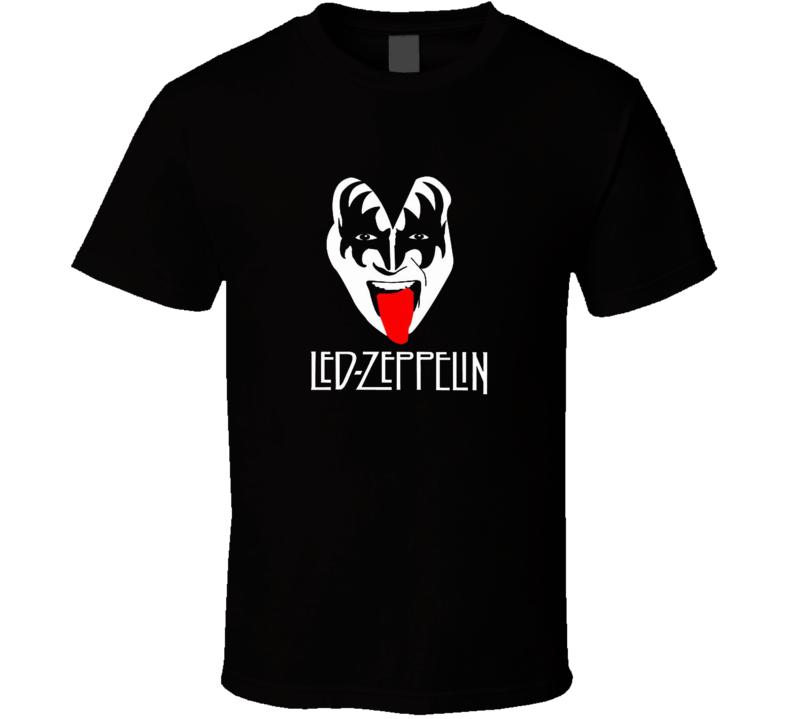 Led Zeppelin Kiss Gene Simmons Funny Mixup  Gift Rock T Shirt