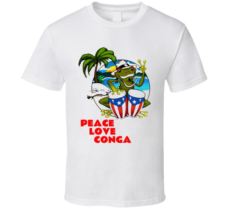 Peace Love Conga Frog Puerto Rico Island Shirt Gift Beach Island T Shirt