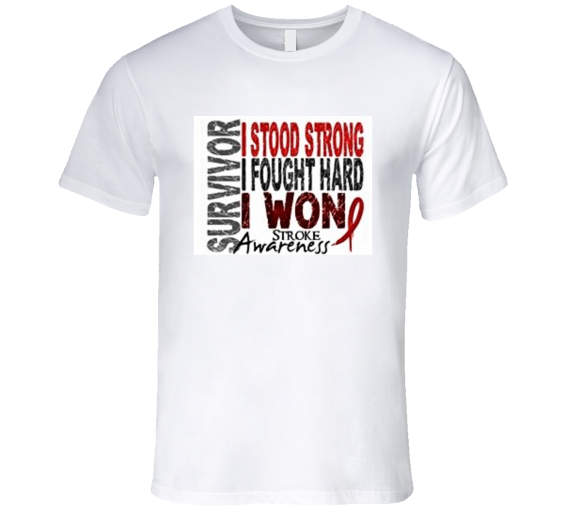 Survivor I Stood Strong I Fought Hard I Won Stroke Awareness Premium Shirt Brain Injury Hemorrhagic Ischemic Survive T Shirt