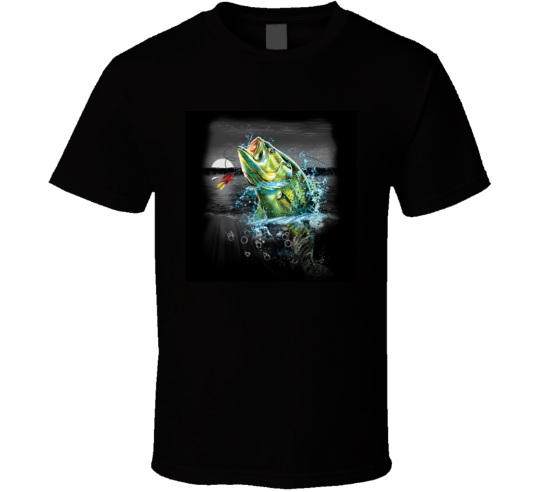 Bass Fishing At Night Jumping Largemouth  T Shirt
