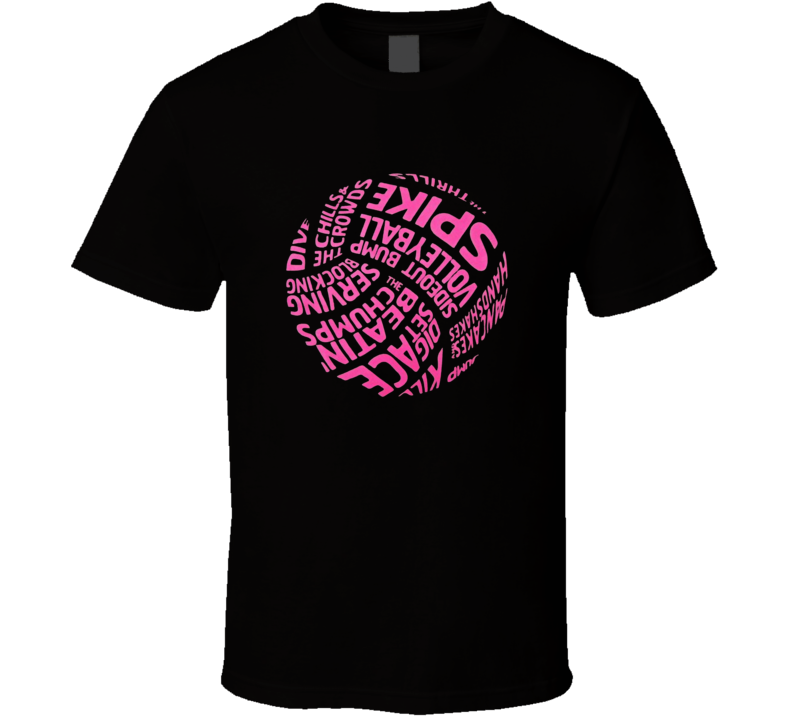 Pink Volleyball Word Ball Pink Breast Cancer Awareness T Shirt
