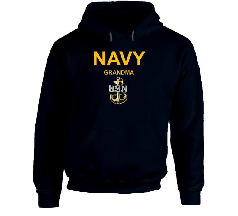 Navy Grandma Usn Anchor Military Family Veteran Gift Hoodie