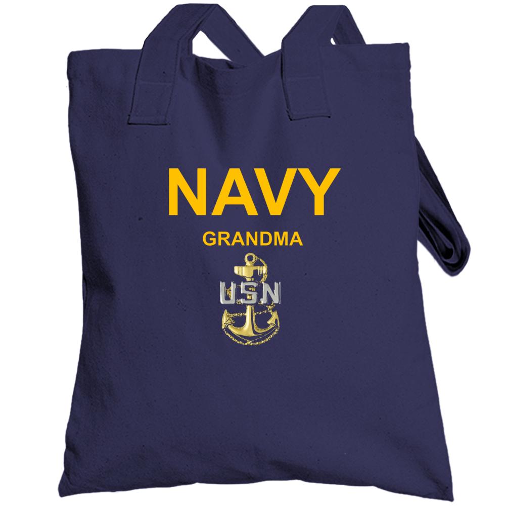 Navy Grandma Usn Anchor Military Family Veteran Gift Totebag