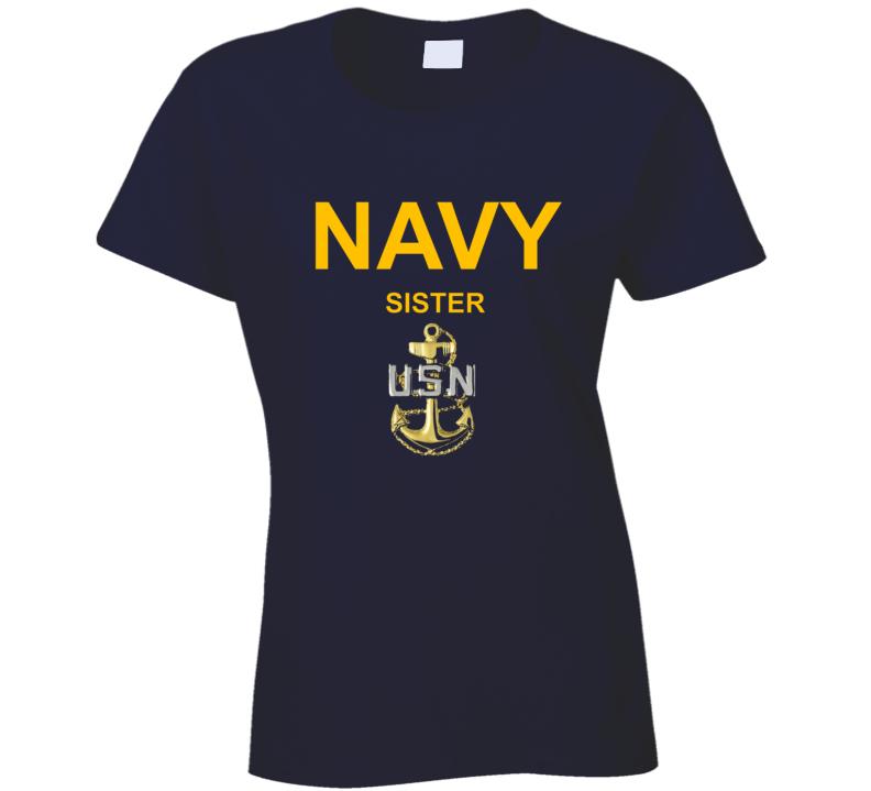 Navy Sister Usn Anchor Military Family Veteran Gift Ladies T Shirt