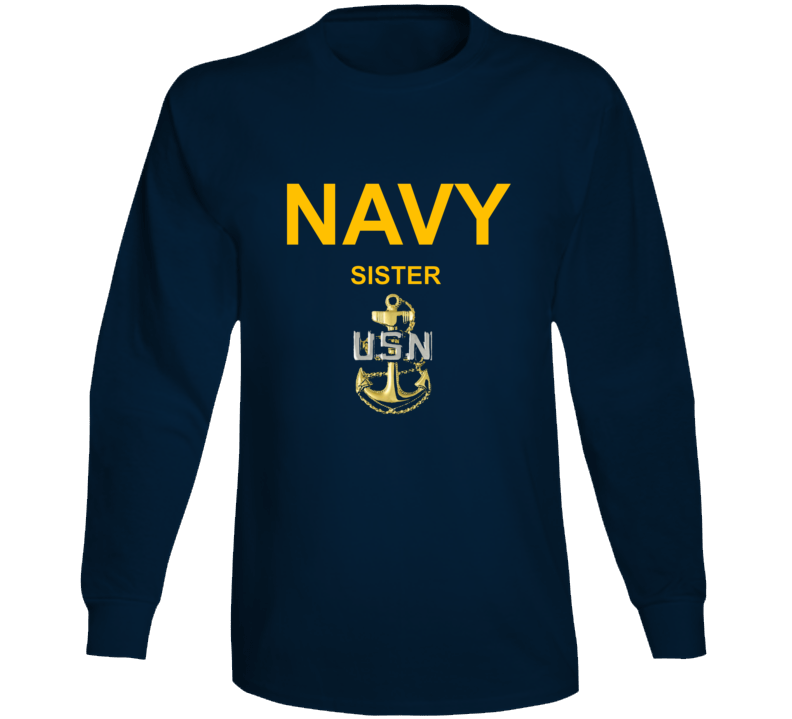 Navy Sister Usn Anchor Military Family Veteran Gift Long Sleeve