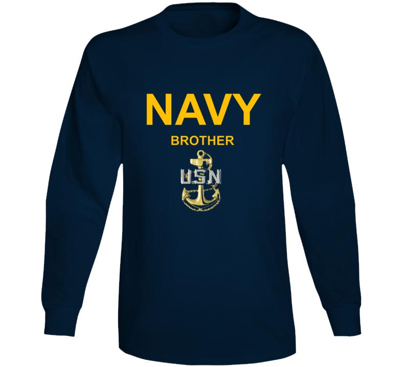 Navy Brother Usn Anchor Military Family Veteran Gift Long Sleeve