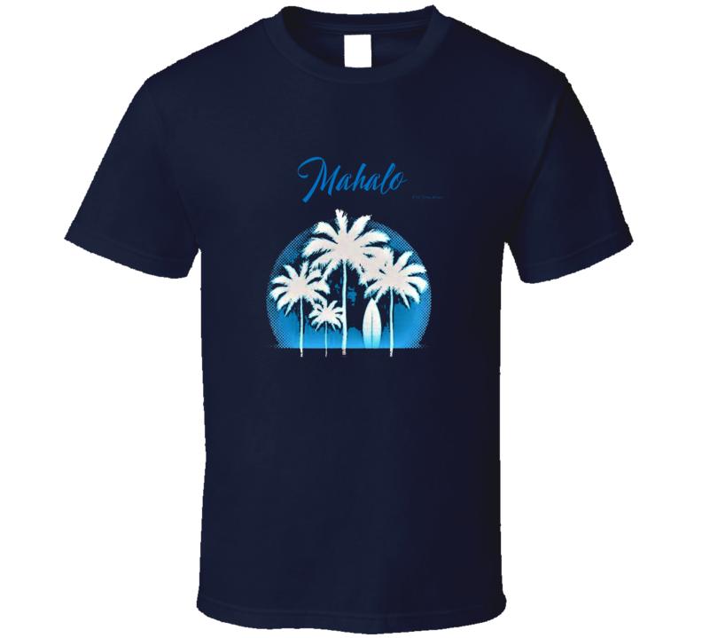 Mahalo Hawaii Palm Tree Summer Beach Surf Gift T Shirt
