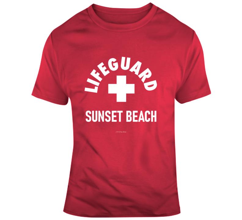 Lifeguard Sunset Beach Florida California Sun Sand Summer Surf Gift T Shirt