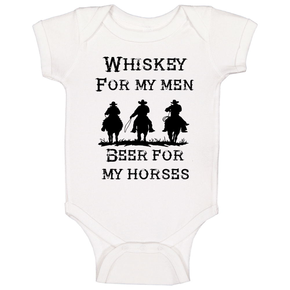 Whiskey For My Men Beer For My Horses Western Cowboy Funny Country Gift Baby One Piece