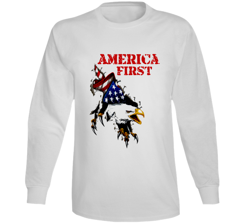America First  United States Usa 1st Premium Patriotic Gift Long Sleeve T Shirt