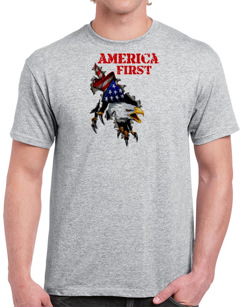 America First Stars And Stripes Screaming Bald Eagle Flag Premium Gift T Shirt