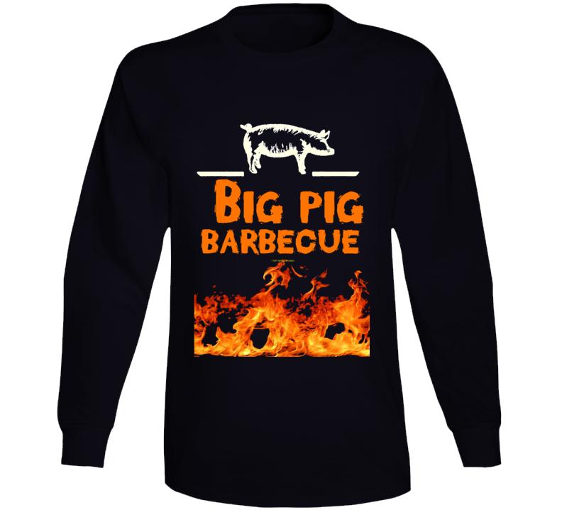 Big Pig Barbecue Flame Smoked Funny Gift Pork Bbq Long Sleeve T Shirt
