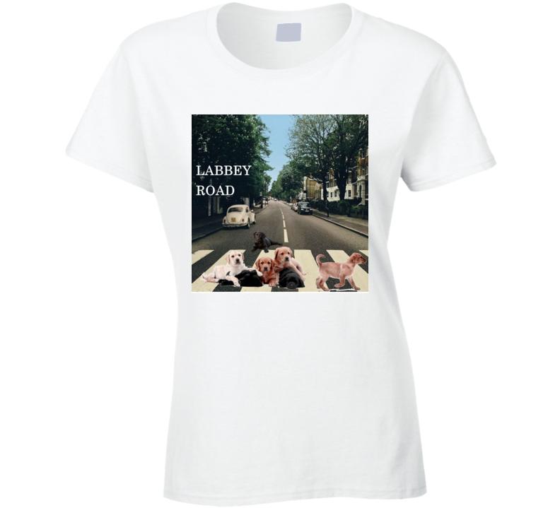Labbey Road Album Cover Spoof Labrador Retriever Funny Gift Ladies T Shirt