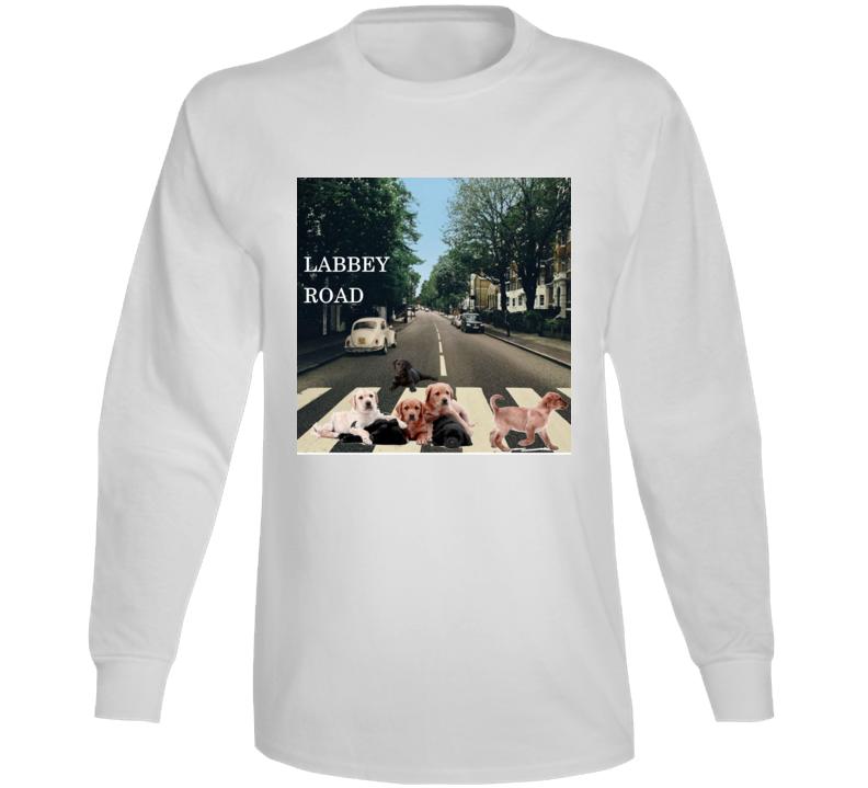 Labbey Road Album Cover Spoof Labrador Retriever Funny Gift Long Sleeve T Shirt