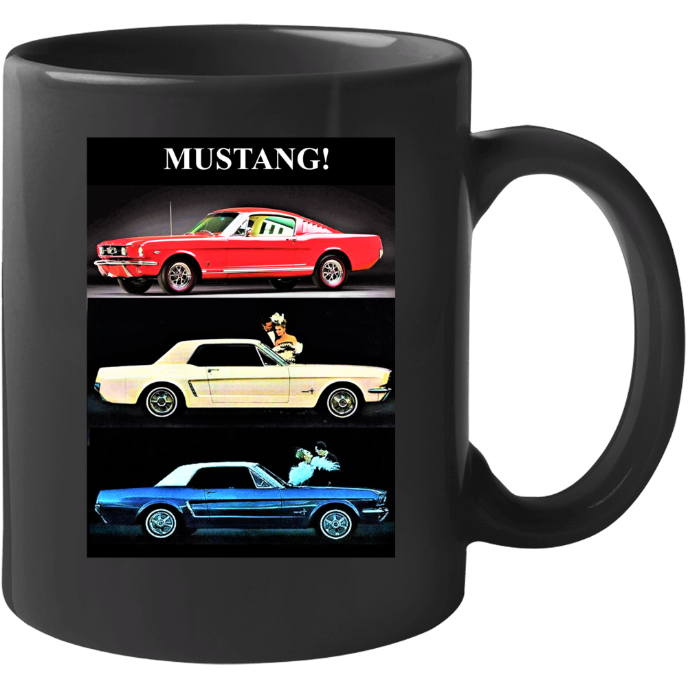 1965 Ford Mustang Red White And Blue Fastback Convertible Hardtop Gift Mug