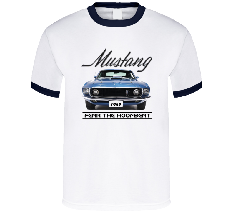 69 Mustang Front View Blue Vintage Musclecar Classic Gift T Shirt
