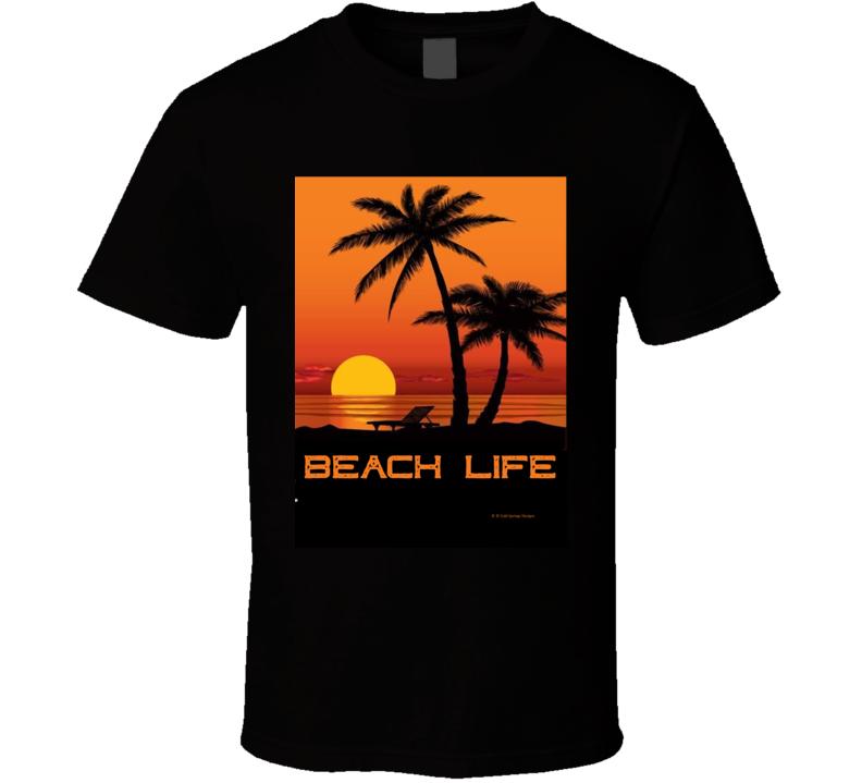 Beach Life Summer Sunset Palm Trees Vacation Gift T Shirt