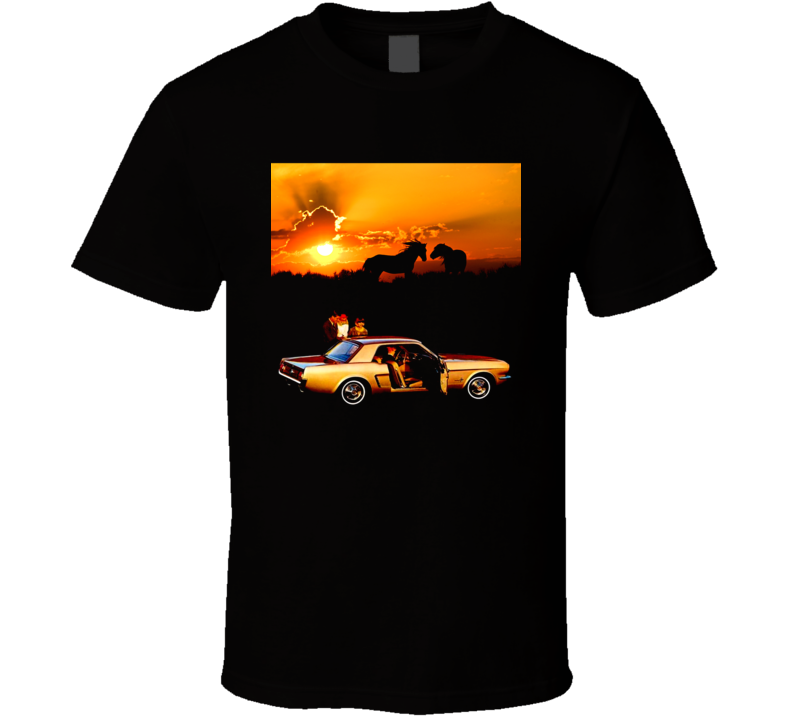 65 Mustang Hardtop Horses Sunset Ponycar Musclecar Gift T Shirt