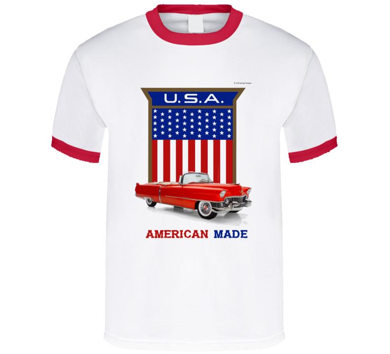 1957 Caddy American Made Usa Flag Shield Classic Gift T Shirt