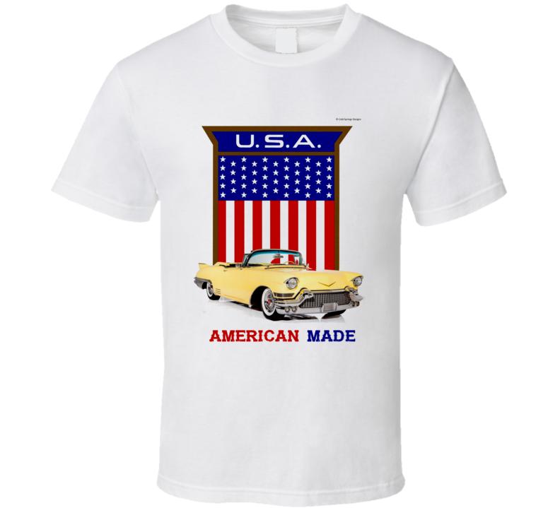 American Made 57 Caddy  Usa  Flag Shield Gift T Shirt