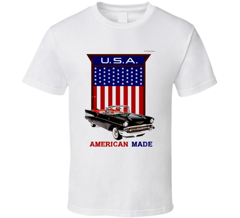 American Made 57 Chevy Usa Flag Shield Gift  T Shirt