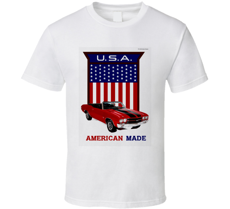 American Made Chevelle Usa Flag Shield Musclecar Gift T Shirt