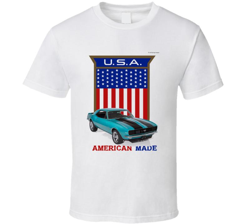 American Made Camaro Musclecar Usa Flag Shield Gift T Shirt