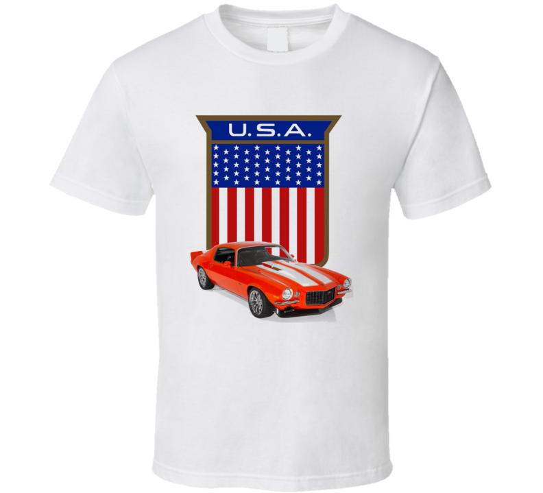 Usa Camaro American Made Flag Shield Musclecar Gift T Shirt