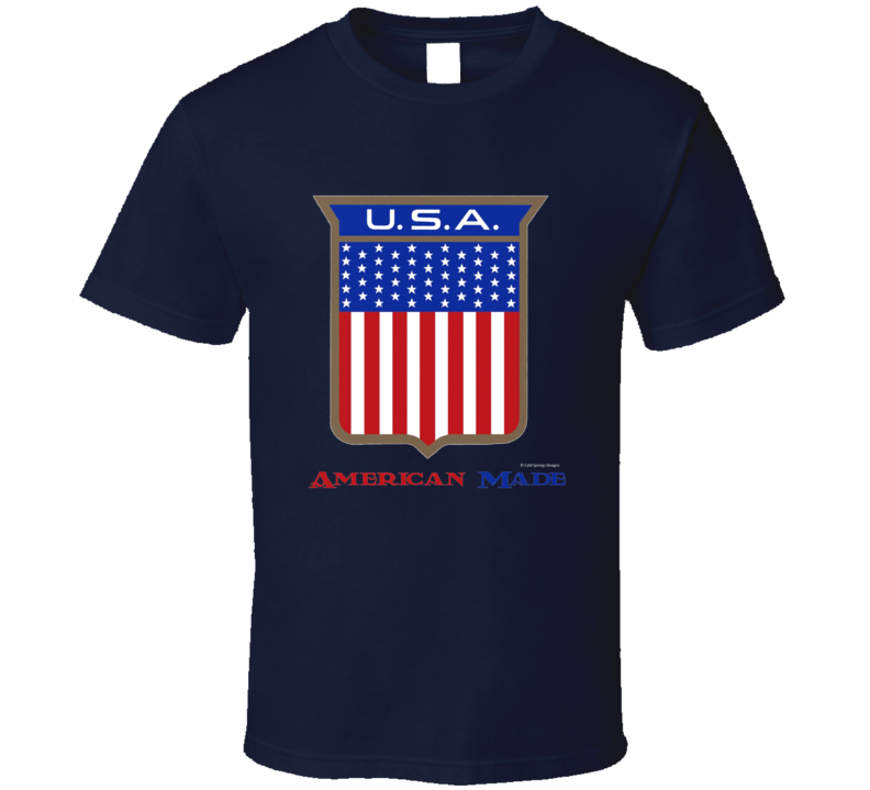 American Made Usa Flag Shield Patriotic Gift T Shirt