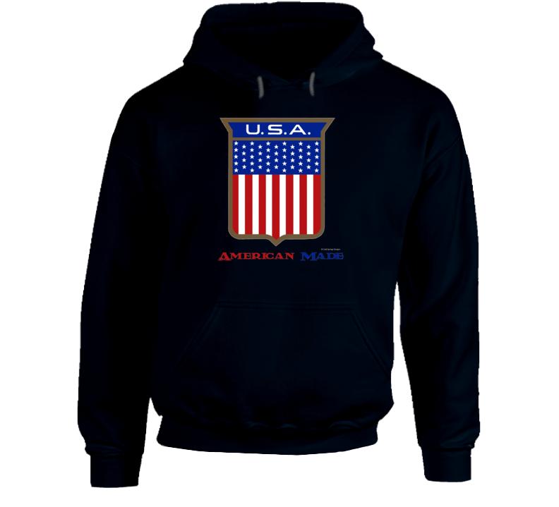 American Made Usa Flag Shield Patriotic Gift Hoodie