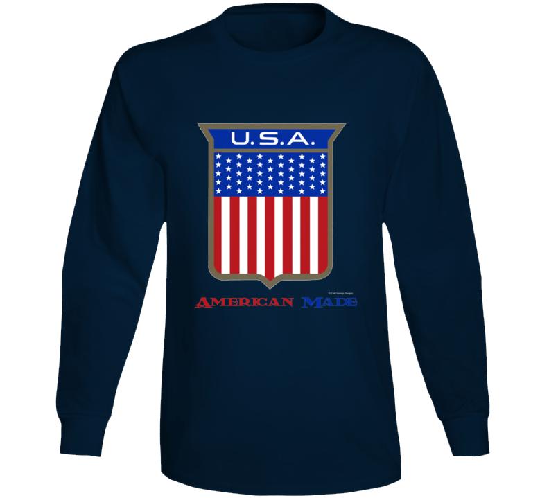 American Made Usa Flag Shield Patriotic Gift Long Sleeve T Shirt