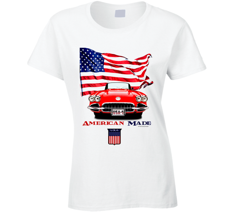 1962 Vette American Made Chevy Sports Car Classic Gift Ladies T Shirt