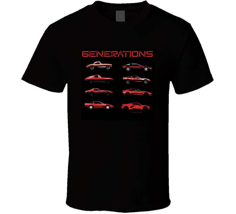 Generations Chevy Vettes C1 To C8 Sports Car  American Gift T Shirt