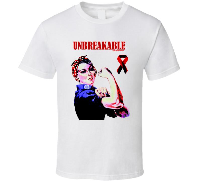 Unbreakable Tough Woman Stroke Survivor Red Ribbon Gift T Shirt