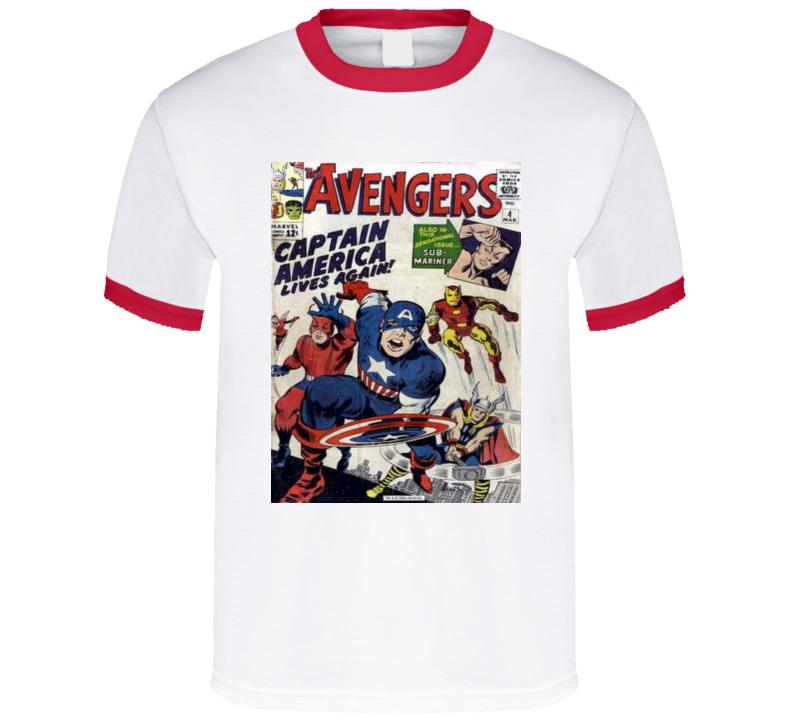 Captain America*COMIC BOOK T-SHIRT* Red Ringer