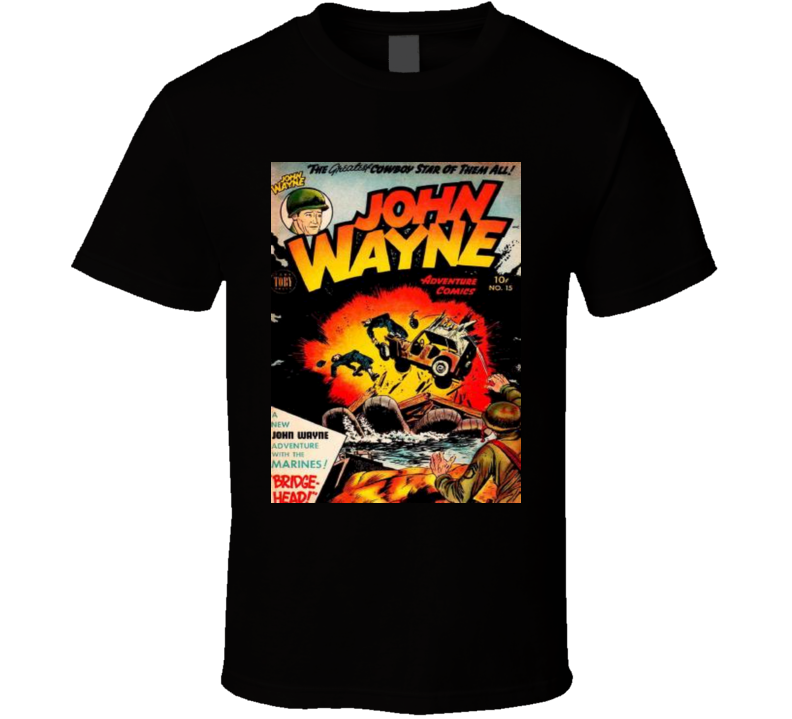 John Wayne T-shirt Men's Black Comic Book