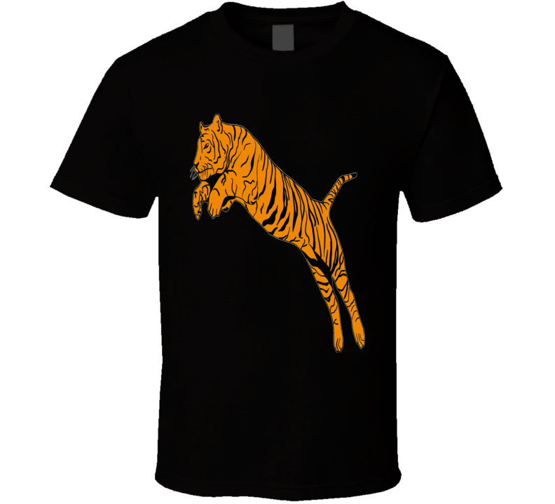 TShirt Mens Black Jumping Tiger
